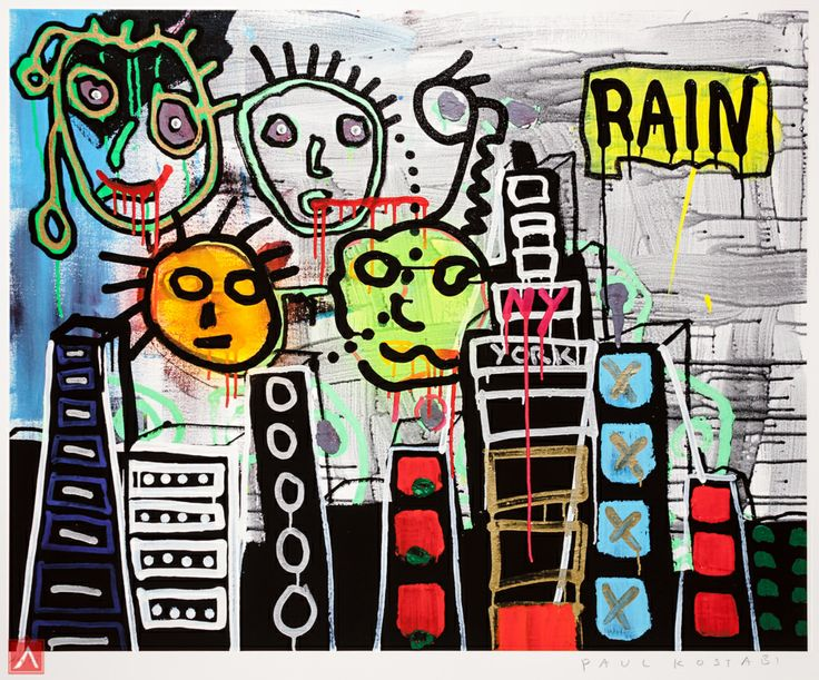 """Paul Kostabi: """"Boxes In The Sky"""" (2013) is a handsigned & numbered gliclée."""