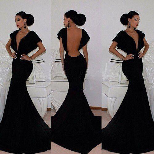 Classy V neck Backless Floor Length Mermaid Dress
