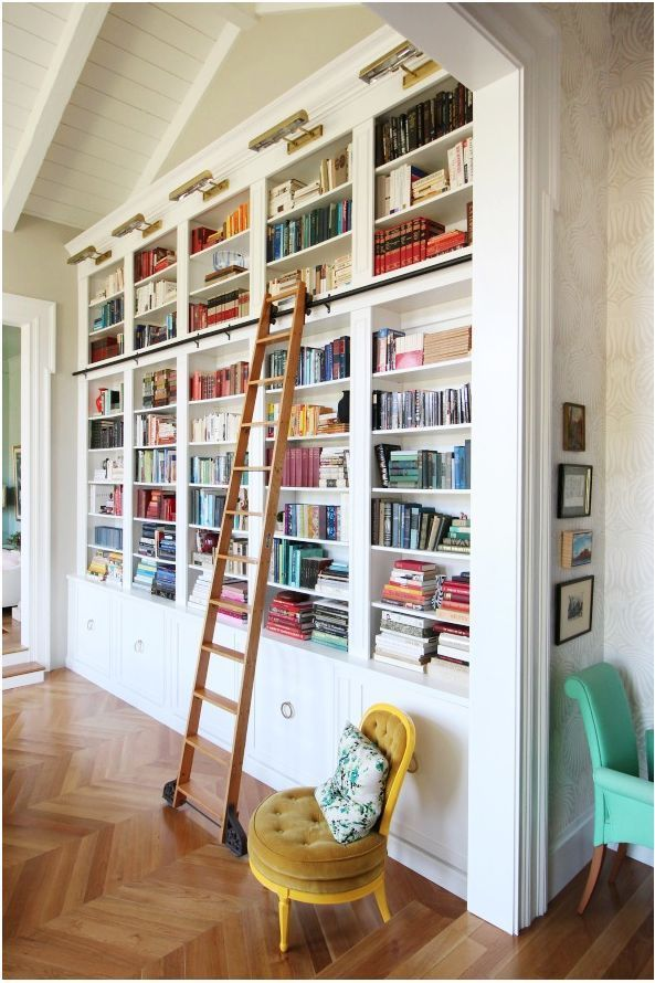 Library Bookcases With Ladders Home Library Design Bookshelves