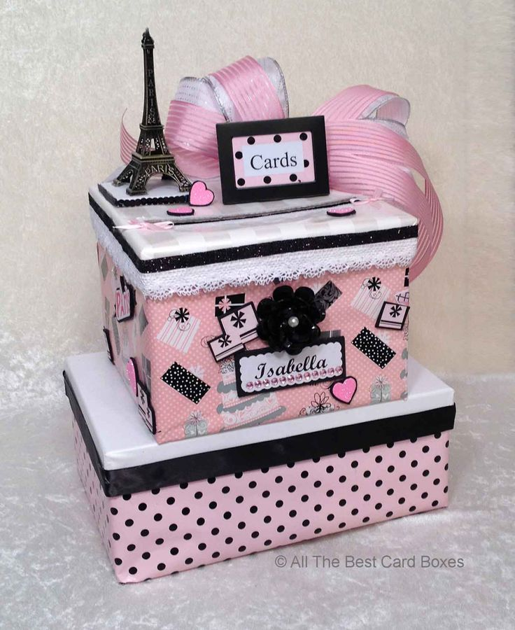 Planning a Paris theme party? #etsy shop: Paris theme card box, Sweet 16 invitation, quinceanera invitation,sweet 16 gift,french country,sweet 16 cake topper,pink card box,birthday http://etsy.me/2CWOY7V #weddings #decoration #sweet16 #sweet16invitation #s