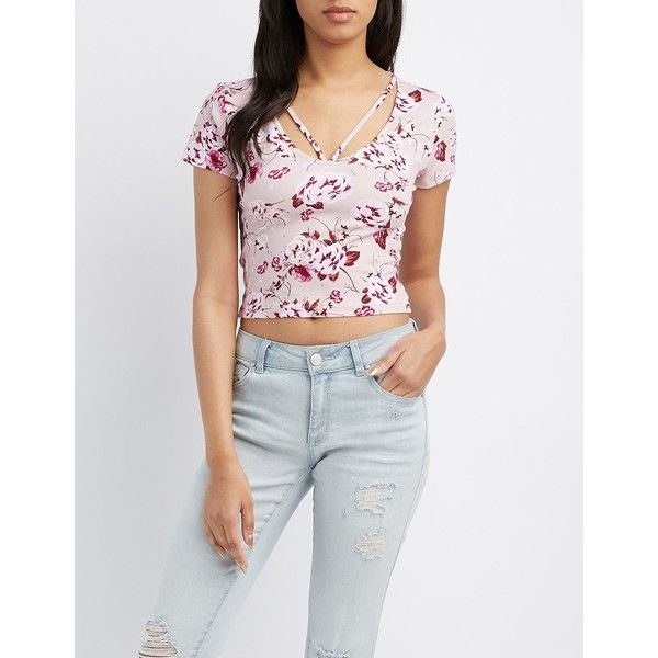 Charlotte Russe Floral Strappy Caged Crop Top ($8.39) ❤ liked on Polyvore featuring tops, mauve combo, floral tops, spaghetti-strap tops, floral print crop top, cut-out crop tops and v neck crop top