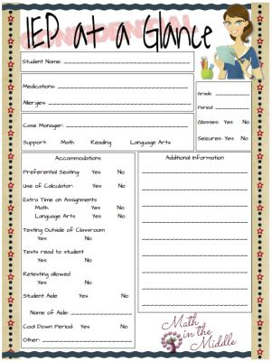 Iep at a glance school goodies pinterest for Iep at a glance template