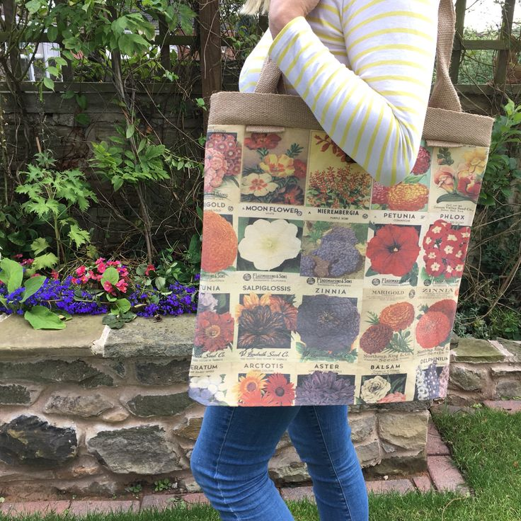 Giant Tote in Vintage Seed Packets Fabric by woodenwedge on Etsy https://www.etsy.com/uk/listing/543741466/giant-tote-in-vintage-seed-packets
