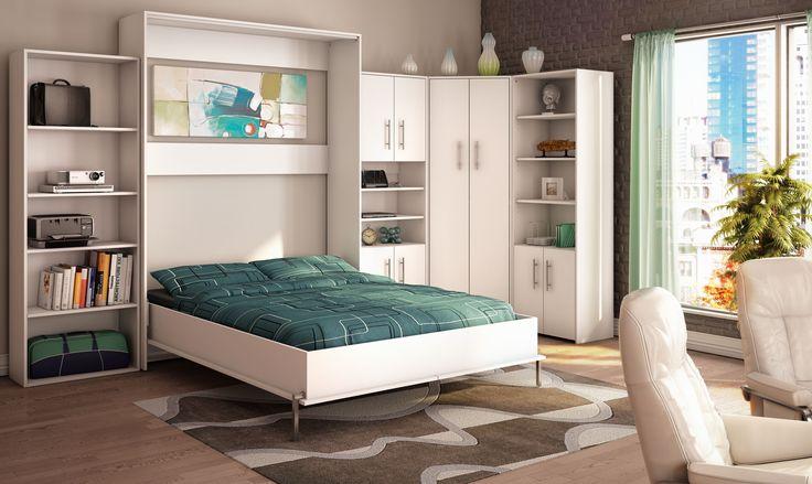 Chambre avec lit mural blanc. White wall bed, modern furniture.