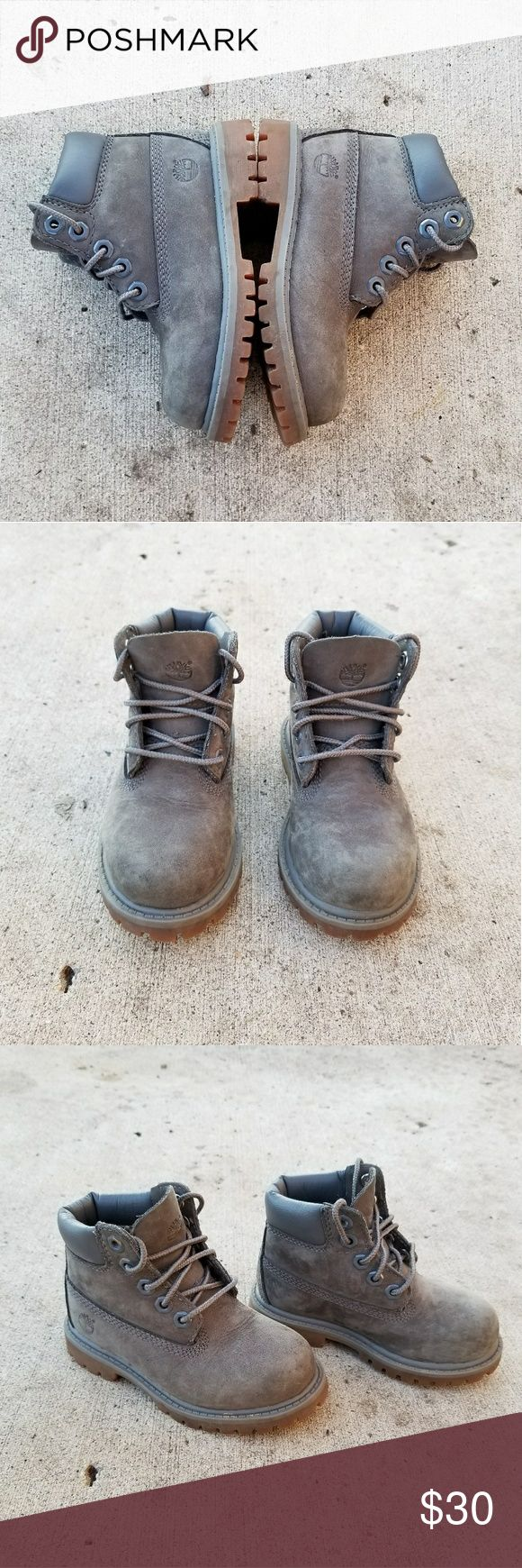 |Timberland| Gray Suede Shoes These gorgeous toddler timbs feature a velvety, suede material & they are in GUC/EUC. A perfect neutral to match any outfit for your little hipster. Unnoticable scuffing on tips of shoes pictured as is common with this brand. Crossposted on other selling sites 🖤 Timberland Shoes Boots