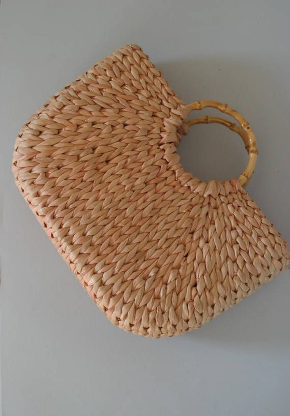 Vintage Woven straw bag shopping tote bag beach basket with