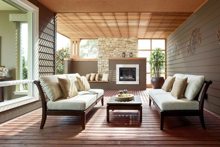 Great semi-enclosed outdoor patio with great built ins ... on Enclosed Outdoor Living Spaces  id=98390