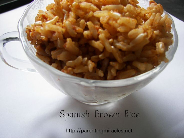 Baked Spanish Brown Rice.: Awesome Food, Ovens Baking Brown Rice, Chili Powder, Spanish Brown Rice, Olive Oils, Baking Spanish, Chilis Powder, Spanish Rice, Sound Awesome