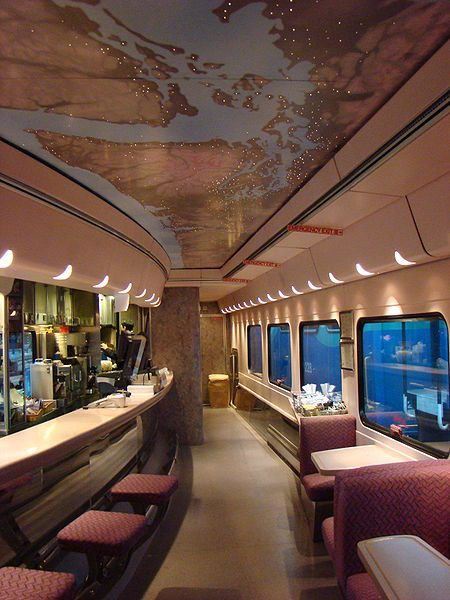 Bistro car from Amtrak Cascades at night...trains have certainly come a long way!