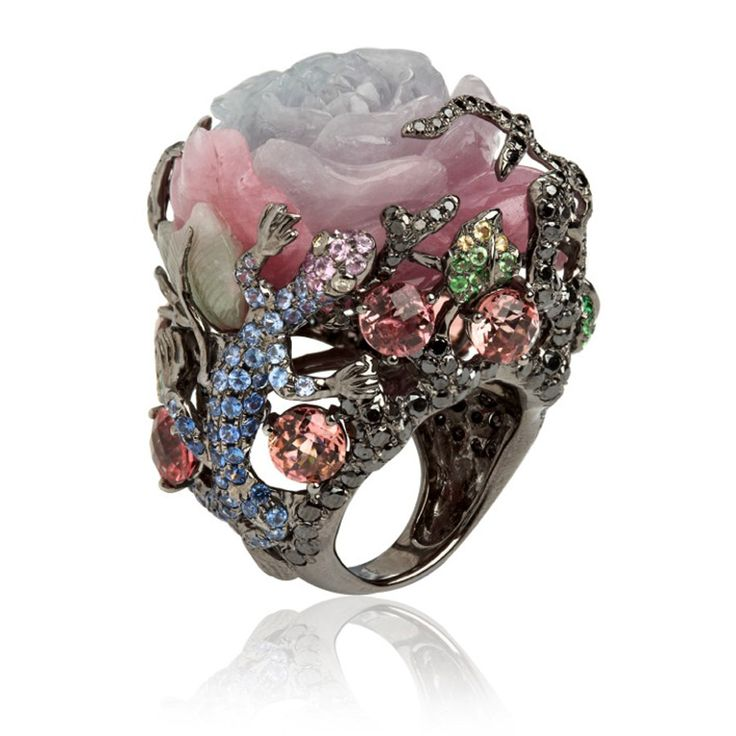 18ct white gold, diamond, sapphire garnet, jade, and tourmaline Fantasie Dusty Rose ring by Wendy Yue for Annoushka