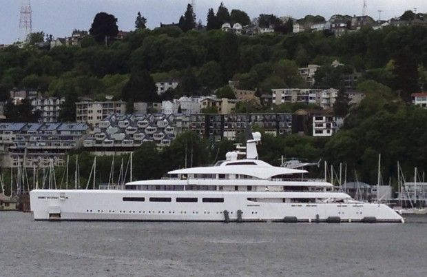 The super yacht VAVA II is in Lake Union this afternoon. (Steve Ringman/The Seattle Times)