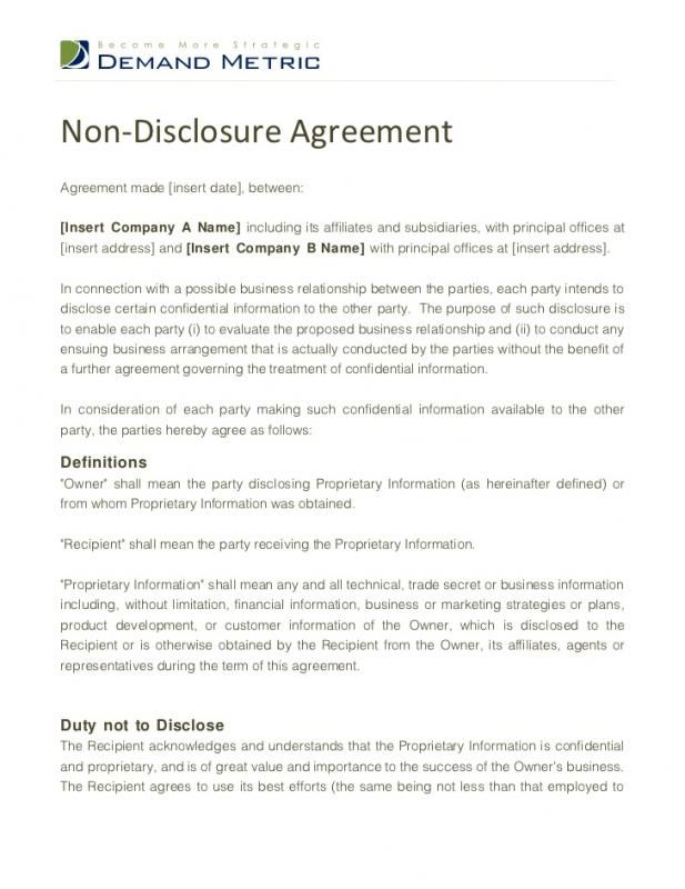 Non Disclosure Agreement Sample Service agreements Pinterest