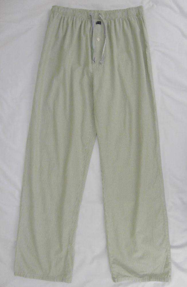 Robert Graham RG Green White Striped Pajama Sleep Lounge Pants Size L #RobertGraham #LoungePants