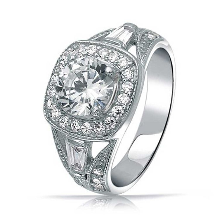 Sterling Silver 2ct Bridal Antique Style CZ Engagement Ring -- Check out the image by visiting the link. (This is an affiliate link) #Rings