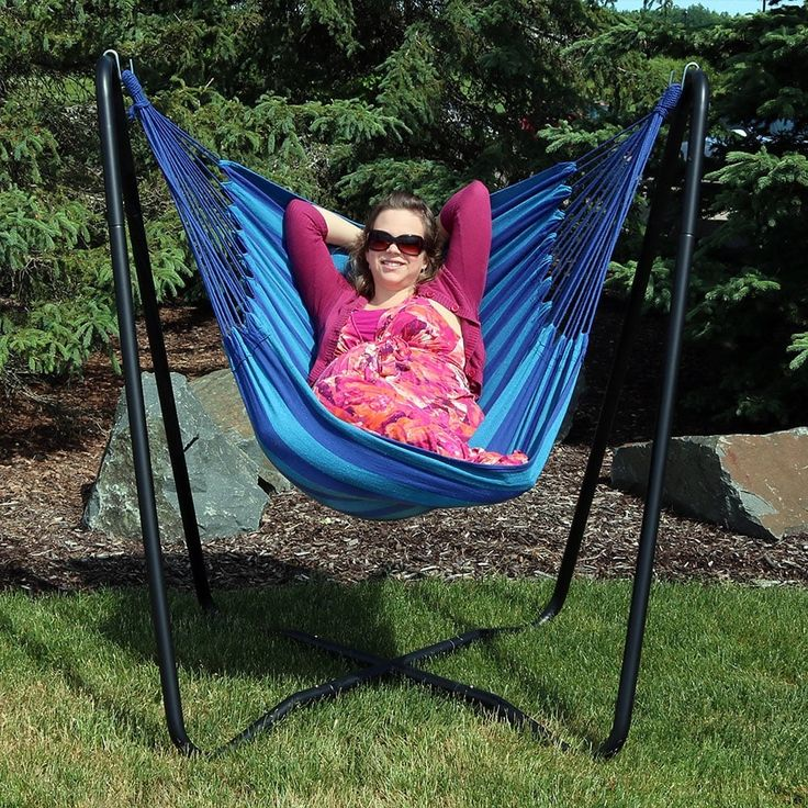sunnydaze hanging hammock chair swing with sturdy spacesaving stand for indoor or outdoor use