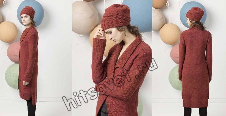 Стильное вязаное пальто, фото 1.