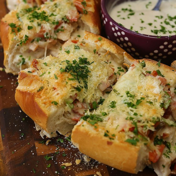 The bread boat! Delicious and filled with food! The Chicken Bacon Alfredo Bread Boat! It will bring you m...