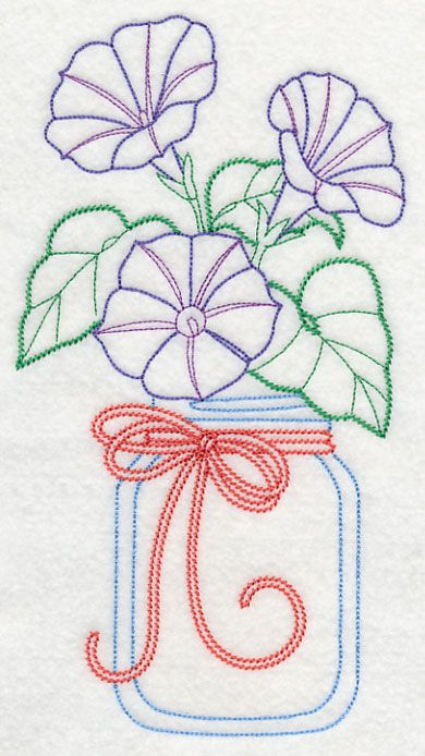 Blooming Morning Glories in Mason Jar (Vintage) design (L9411) from www.Emblibrary.com