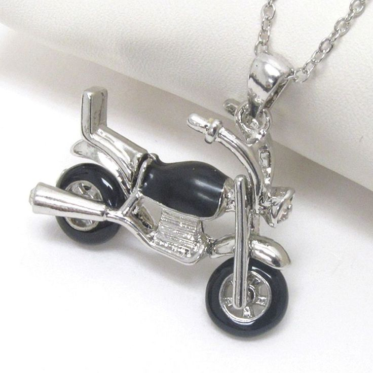 Cute White Gold Plated electro plating motorbike chic Charm pendant necklace