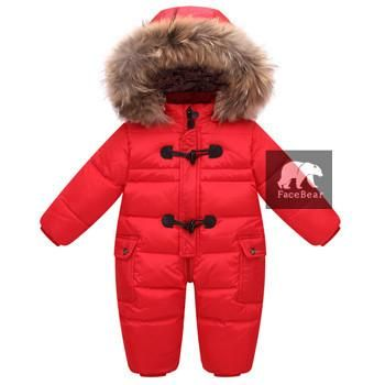Snowsuit + nature fur ,90% duck down jacket for babies coats Winter Park overalls