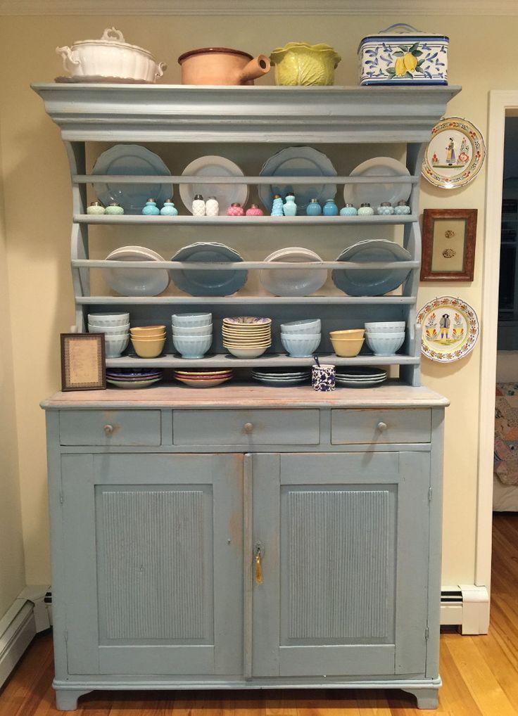 yellow kitchen - blue painted Swedish hutch in the yellow eurosplash Swedish-inspired kitchen - Atticmag