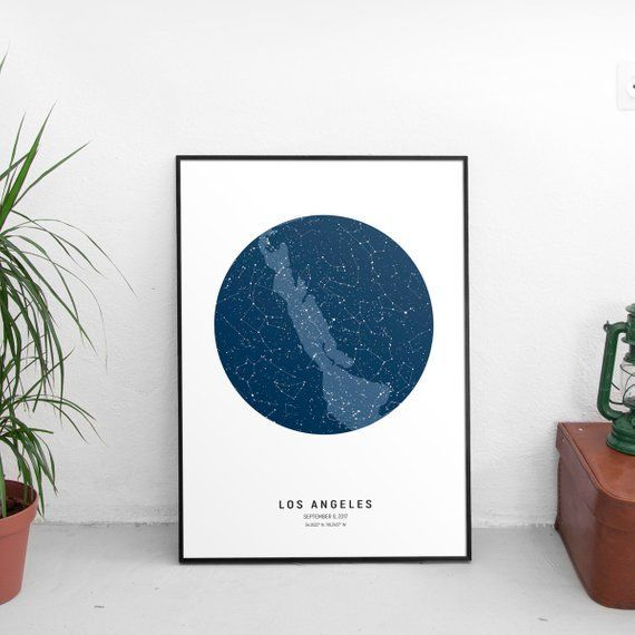 Personalized Constellation Map Gift Celestial Art On Date Birthday Star Night Sky Custom Chart Wedding