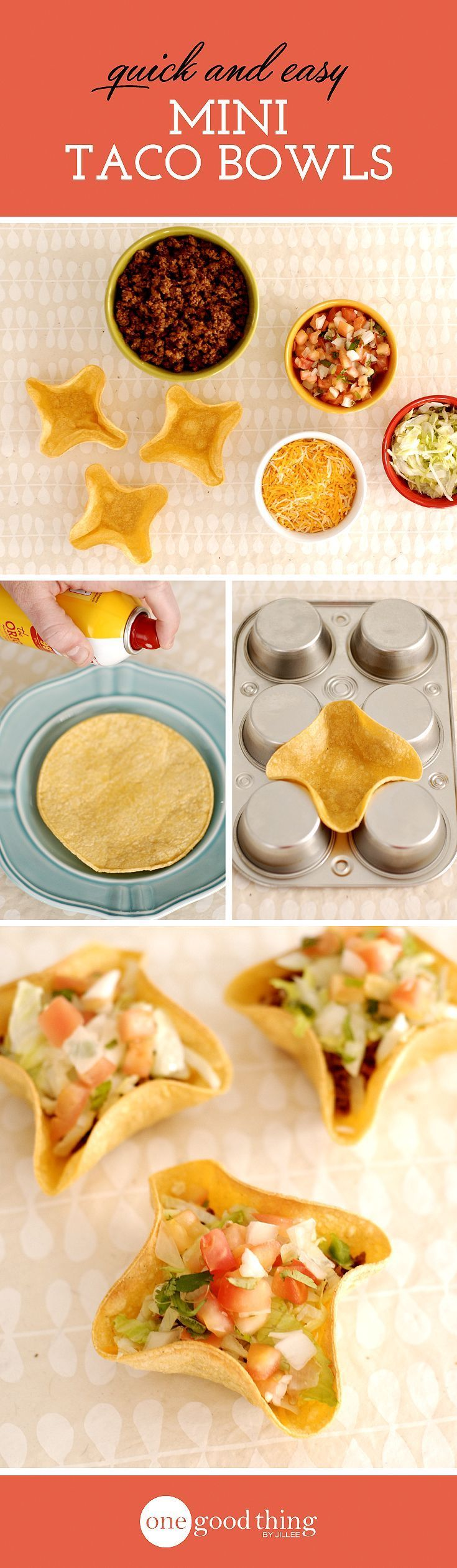 """Take """"Taco Tuesday"""" to a whole new level with these cute mini taco bowls you can easily make yourself using the underside of a muffin tin!"""
