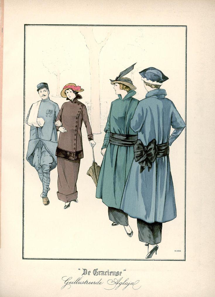 [De Gracieuse] No. 1. Eenvoudig tailleurkostuum. . No. 2 en 3. Moderne mantel van dun laken (May 1915)
