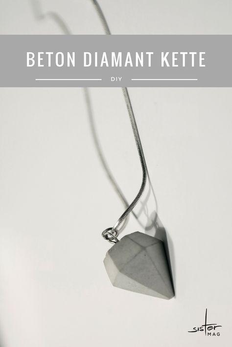 DIY Beton Diamant Kette zum selber machen. Einfach der einfachen Anleitung folgen.
