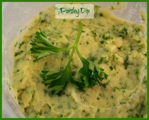 Dips are perfect for the Festive Season. Parsley Dip is easy to make with children.