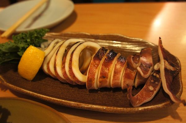 Grilled whole squid.