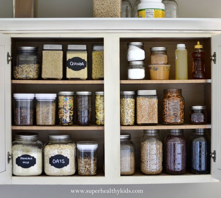 Kitchen Cabinet Makeover- Getting rid of the packaging! - super organized bulk food pantry with just the essentials
