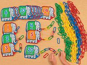 Fun counting task for students. Add links to a given number to make a trunk.
