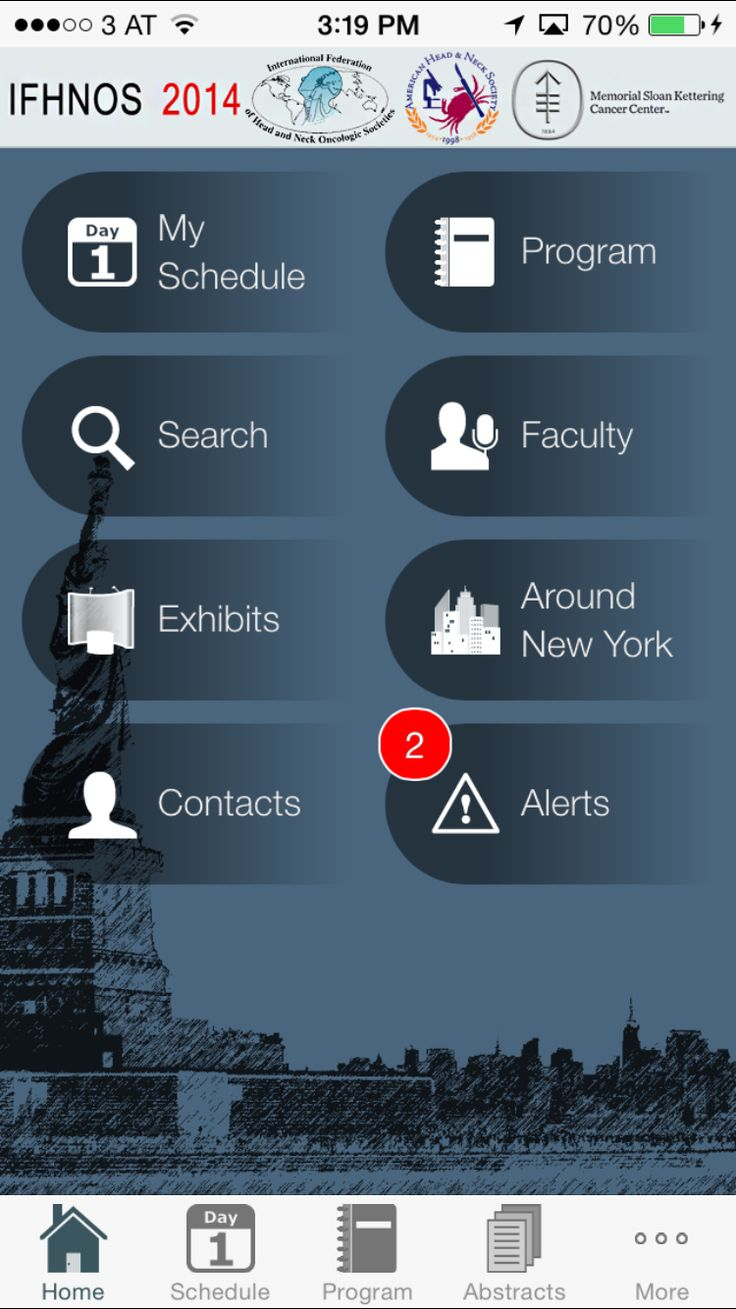 Custom home screen for IFHNOS / AHNS 2014 medical conference app