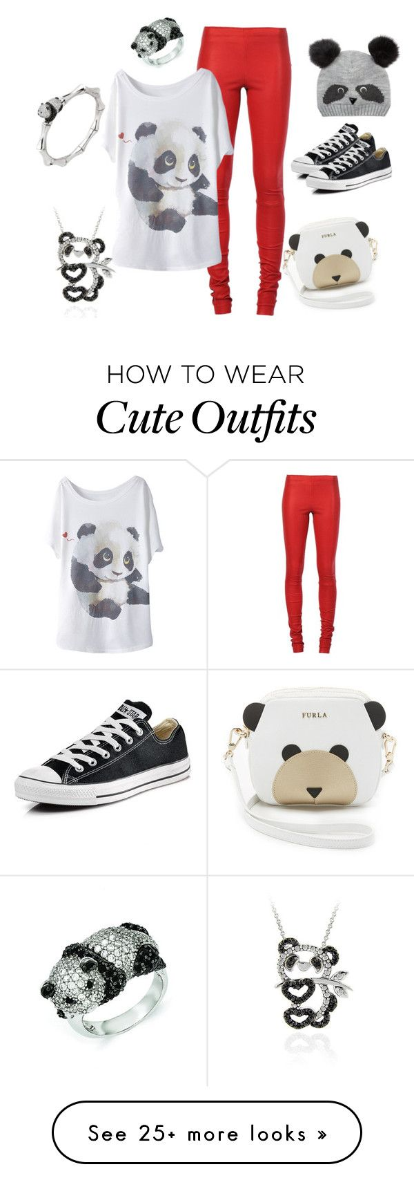 """""""Panda Outfit!"""" by thatperson7 on Polyvore featuring Furla, STOULS, Converse, Accessorize, DB Designs, Kevin Jewelers and Stephanie Deydier"""