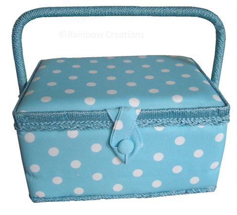 Polka Dot Sewing Basket - Aqua