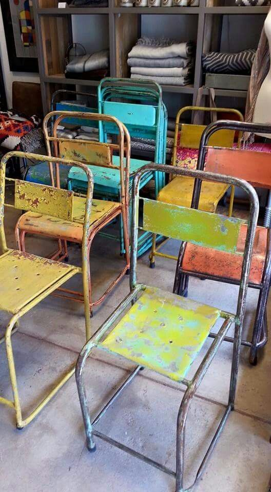 Vintage painted metal chairs www.mush.co