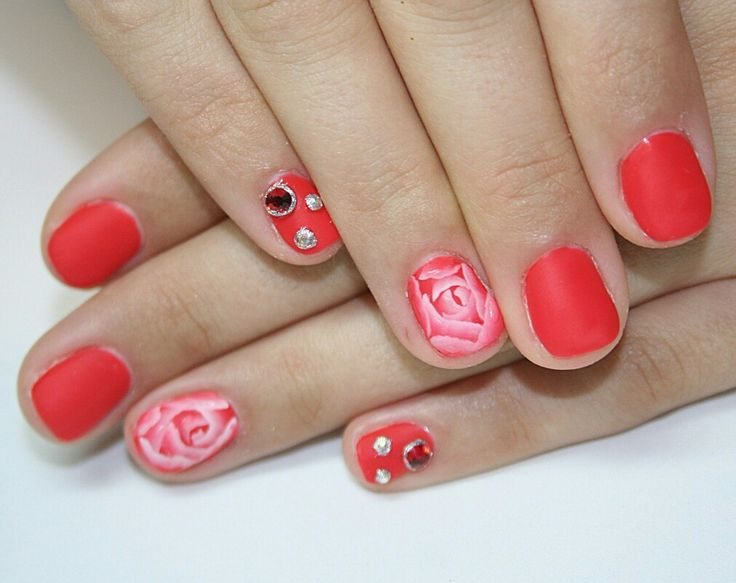 #Rose#rednails#nail art#manicure