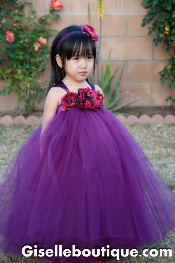 Flower girl dress Plum TuTu Dress with Peony by giselleboutique