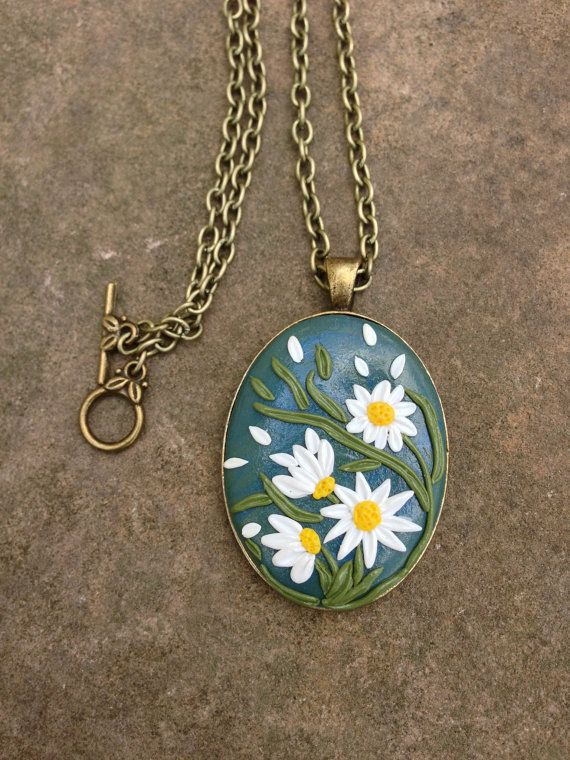 Spring Polymer Clay Jewelry Flower Pendant by ArtfulParadox, $25.00