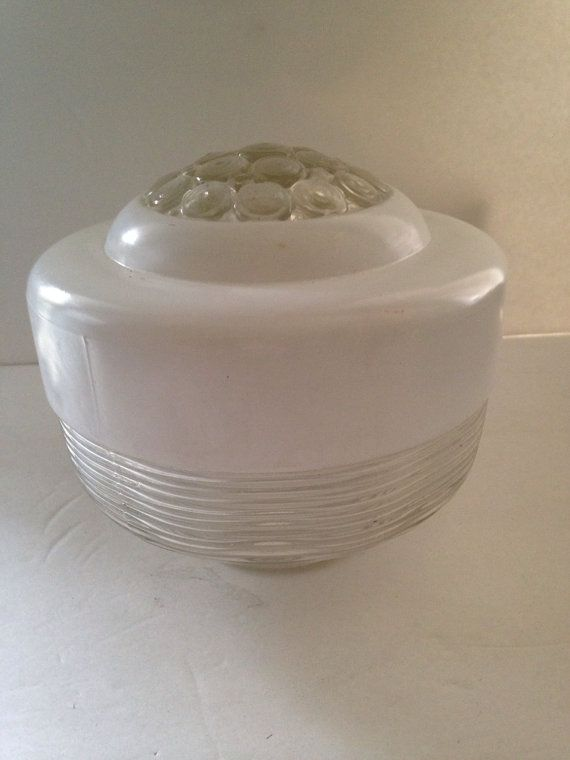 Mid century frosted and clear glass ceiling light by GreatGatsbys