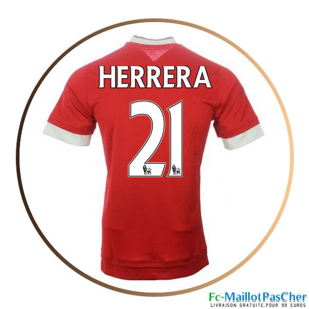 Maillots Manchester United rouge Herrera 21 Domicile 15 2016 2017