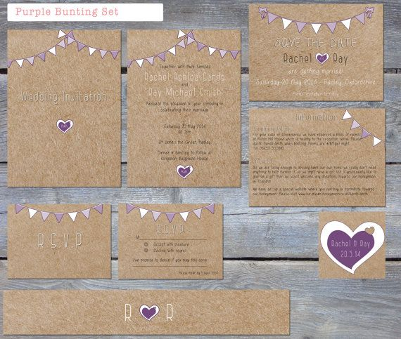 Printable Rustic Purple Bunting wedding invitation set, includes, invitation, save the date, RSVP, info card, belly band and sticker on Etsy, $65.78