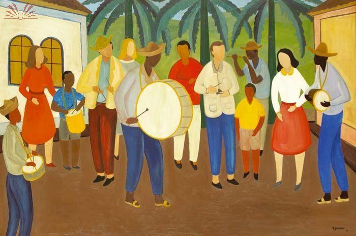 The musicians of Paraty City(1961) - Oil on Canvas - Djanira da Motta e Silva.