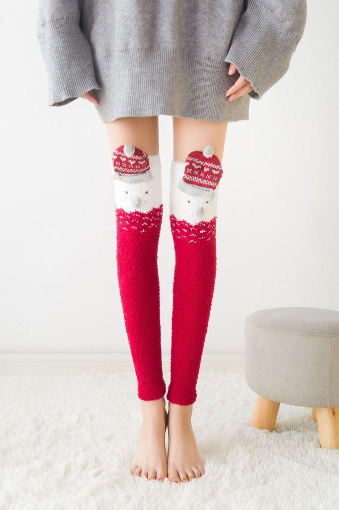 e3ee1d30b70ae Japanese Mori Girl Animal Modeling Knee Socks Striped Cute Lovely Kawaii  Cozy Long Thigh High Socks Compression Winter Warm Sock
