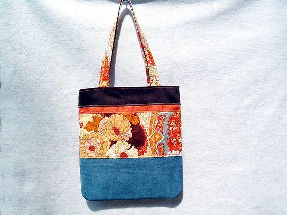 "Orange Blue Brown Patchwork Tote Bag, Patchwork Purse,  Fabric Handbag, Handmade Handbag Tote in Vintage Print Corduroy 14"" x 15"" x 2"""