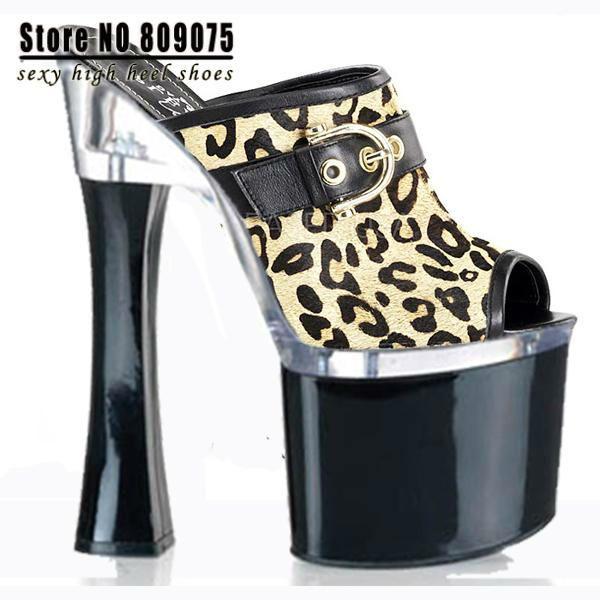 Сексуальная женщин Супер леопардовым принтом от соблазна открыть ног 18см туфли на высоком каблуке 7 дюймовый моды Платформы зачистки обувь,...
