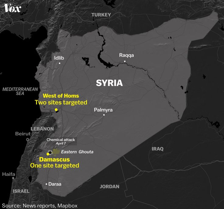 Map of Syria and targets the US