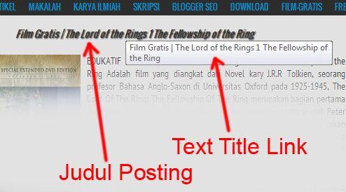 Cara Membuat Text Title Link Pada Judul Postingan
