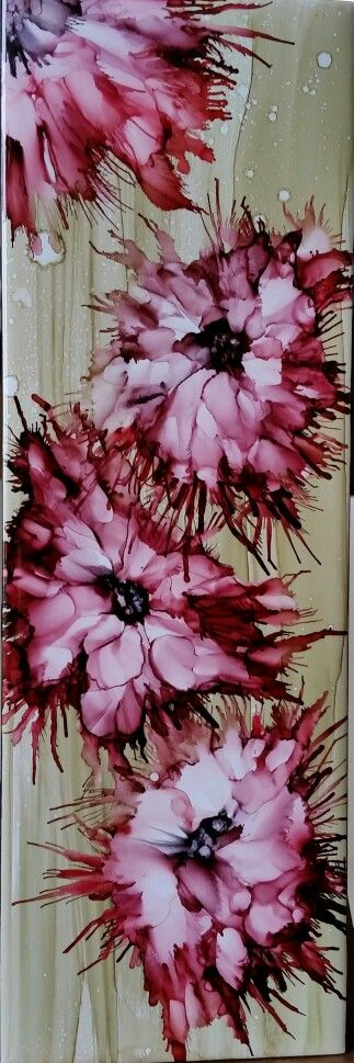 Blown flowers in alcohol ink 12x4 tile by Tina